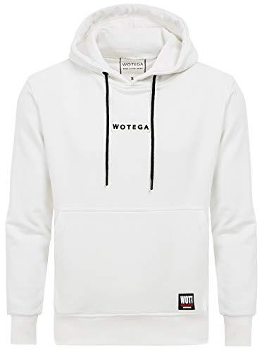WOTEGA Herren Sweatshirt Weiss Hoodie Logo - weiße Männer Kapuzenpullover Kapuze, Weiß (Bright White 110601), L Logo Hoodie Weiß