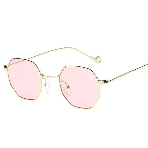 Kafe Sonnenbrillen , Loveso Unisex Beliebte Klassische Unregelmäßige Octagon Metallrahmen Sonnenbrille (10 Farben zu wählen) (Rosa)