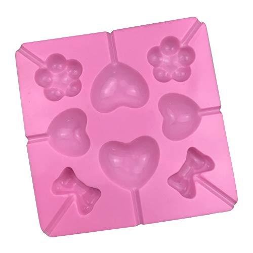 probeninmappx DIY Lollypop Schokoladenform Silikon Eiswürfelschale Form Candy Pudding Liebe Herz Bowtie Blumenmuster für Kinder Kinder Bowties
