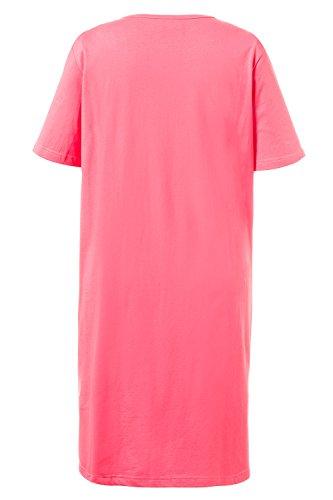 Ulla Popken Femme Grandes tailles Lot de 2 T-shirts nuit long uni imprimé papillon manches courtes 710063 rose vif géranium