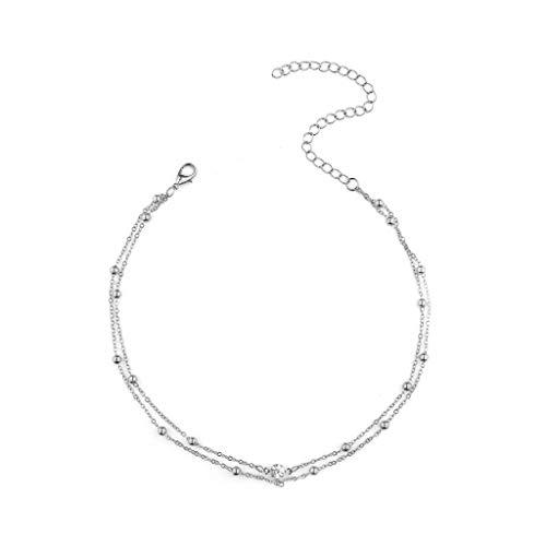 Tensay Kette Anhänger Quaste Halskette Damen Funkelnde Elegantes Halskette Frauen Anhänger Halskette Geschenk Schmuck Dekoration (Silber)