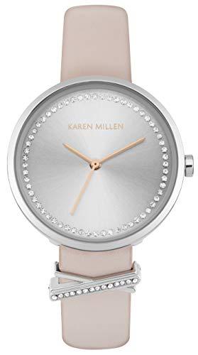 Karen Millen Reloj Analógico para Unisex Adultos de Cuarzo con Correa en Cuero KM174P