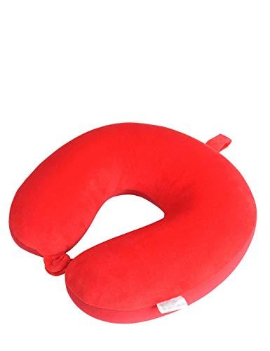 LHHJP111 Schaum-Reisekissen, Nackenstütze, Schnallen-Design, U-förmiges Kissen, super weicher Kristall-Samt, Ultra-tragbar, kühl halten, geeignet für Kinder Erwachsene (Color : Red) - Erholung Konzentrieren