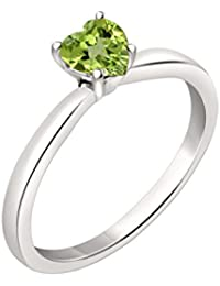 Silvernshine 7mm Heart Cut Peridot Solitaire Engagement Ring 4 Prong In 14K White Gold Plated