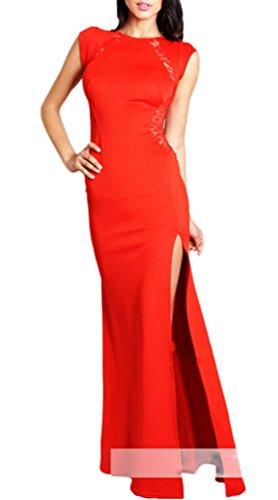 Smile YKK Femme Robe Elégante Longue Peplum de Soirée Dentelle Creux Rouge