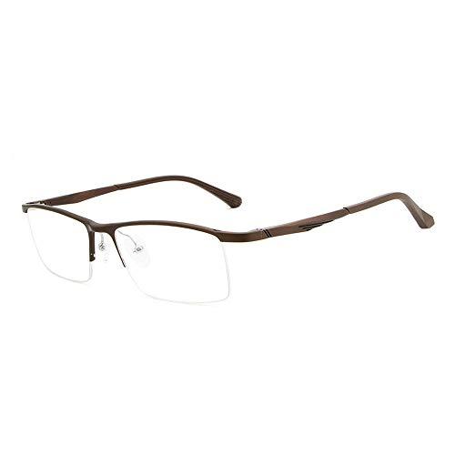 Aluminium-Magnesium-Brillengestell Ultraleichter, anti-blauer flacher Spiegel Optischer Metall-Brillengestell mit Halbrahmen Sunglasses LPLHJD (Color : Braun, Size : Kostenlos)