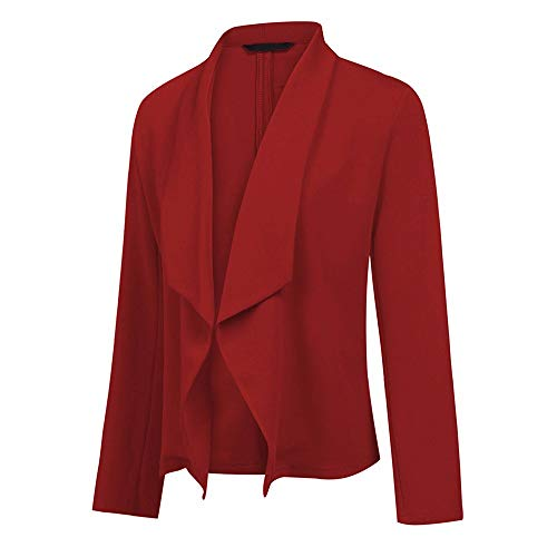 VEMOW Womens Blazer Long Sleeve Solid Ladies Cardigans Blazers for Women Elegant with Belt Slim Ladies Blazers Coat