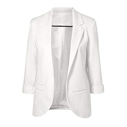 Moda para mujer estilo OL Blazer de manga larga elegante traje delgado Escudo Casual Luckycat Blanco...