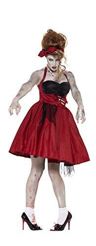 e-Rockabilly Kostüm, Kleid mit Latex Rippen und Stirnband, Größe: M, 44369 ()