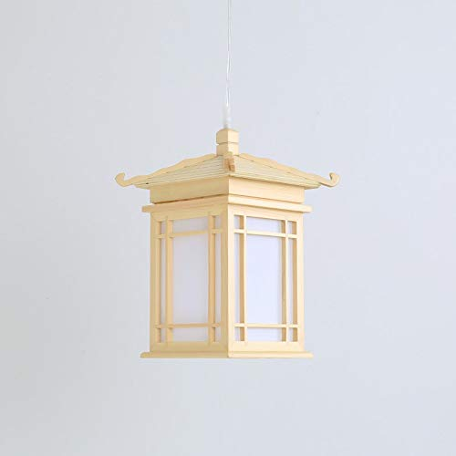 FTLY Tempel Form Massivholz Restaurant Bar Hängen Pendelleuchte Japanischen Stil E27 Einzigen Kopf Pergament Deckenleuchte Studie Gang Villa Dekorative Kronleuchter
