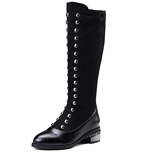 PLNXDM Womens Rivet Boots Knee High Stretch Kalb Flache Flache Ferse Mit ReißVerschluss Damen Lässige Western Cowboystiefel,Black-EU:37/UK:4.5 - Schwarze Kalb-western-boot
