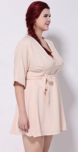 Bigood Robe Elégante Femme Grande Taille Cocktail Soirée Mariage Demoiselle d'Honneur Rose