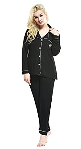 Womens Pyjama Sets Nightgowns Sleepwear Tracksuit Pajamas Cotton (L, 9039 Black)