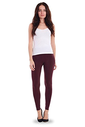 Ladies Warm Leggings Womens Plain Cotton Stretch Full Length Plus Size Wine Purple