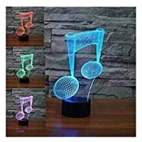 Novelty 3D Model Piano Music Note Night Light Illusion Lamp 7 Color Change LED Touch USB Table Gift Kids Toys Decor Decorations Christmas Valentines Gift