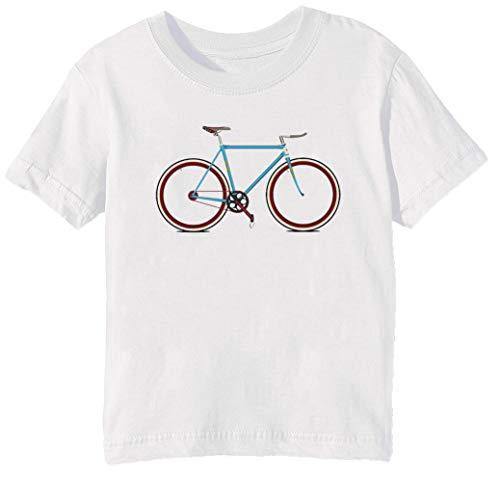 Fahrrad Kinder Unisex Jungen Mädchen T-Shirt Rundhals Weiß Kurzarm Größe 2XS Kids Boys Girls White XX-Small Size 2XS -