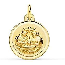 Médaille pendentif Baptême 12mm 18K. Saint-Esprit Colombe Cerco Bisel - personnalisable - enregistrement inclus dans le prix
