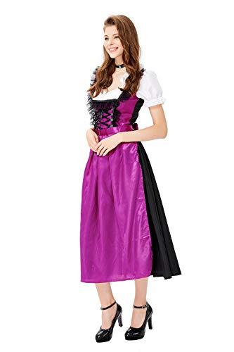 NUYAN HalloweenDeutsches Dirndl Kleid für Damen, Oktoberfest Kostüm Midi Kleid, Halloween Kostüm Cosplay Kleid Party - 70's Soul Kostüm