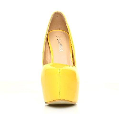 77605f912da0a High Heels Stöckelschuhe Donna gelbes Lackleder PU Leder Stilettos ...