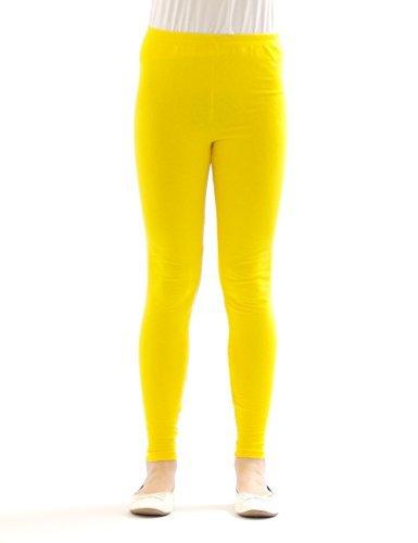 Kinder Mädchen Leggings lang blickdicht aus Baumwolle Hose Jungen Gelb 134