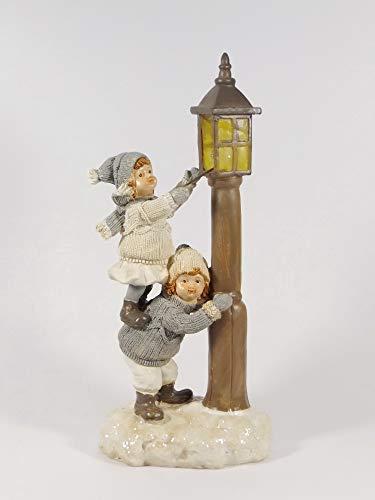 Winterkinder Mädchen Junge Knabe Laterne LED beleuchtet Weihnachts Nostalgie Deko Kind Figur -