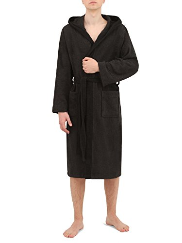 Di Ficchiano DF-30 Unisex Bademantel anthrazit/Black Gr. XL