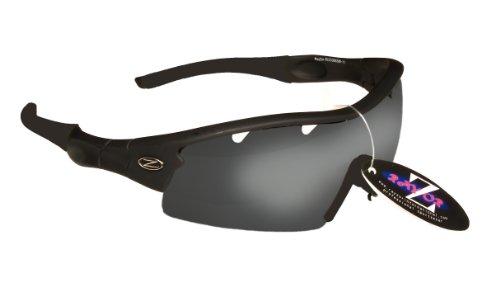 Rayzor Professionelle Leichte UV400 Schwarz Sports Wrap GOLF Sonnenbrille, Mit einer 1 Stück Entlüfteter Smoke Widergespiegeltes Objektiv.