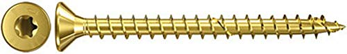 fischer Power-Fast FPF-ST 3,0 x 15 YZF - Spanplattenschrauben mit Senkkopf zur Befestigung von Holzverbindungen, Beplankungen und Metallbeschlägen, gelbverzinkt - 500 Stück - Art.-Nr. 653400