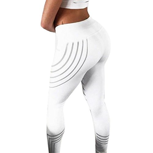 Vovotrade ☆☆Ladies Tech Mesh Sport Leggings Yoga Pants Frauen Taille Yoga Fitness Leggings Lauf Gym Stretch Sport Hosen Hosen (Weiß, Size:M) (Damen Lauf-hose)