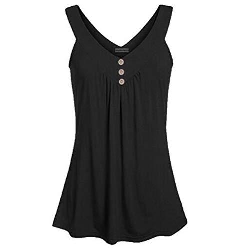 LIGHTBLUE Damen Sleeveless Sommer Lässige Camisole Plissee Tank Tops mit Knopf, schwarz, L -