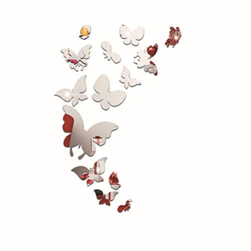 DIY Acryl Kunst Aufkleber Schmetterling Geformt Spiegelfläche Wandaufkleber Collage Home Schlafzimmer Büro Dekor Wandbild Dekoration (Silber)