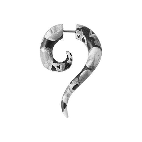 Tribal Spirale Long Tail Pythonhaut Muster UV Acryl mit 16 Gauge 316 L chirurgischer Stahl Fake Messgerät Ohr Plug Piercing