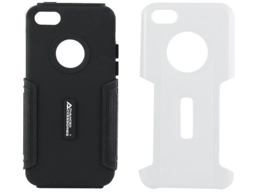 Advanced Accessories Combo Schutzhülle aus Silikon für iPhone5C schwarz / weiß