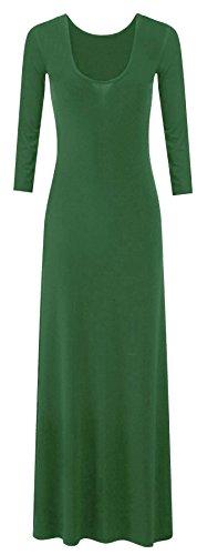 Damen Langarmshirt Übergröße Maxi Kleid Maxi, tailliert, Stretch, Jersey, Übergröße, erhältlich in Gr. 42-52 Jade Green
