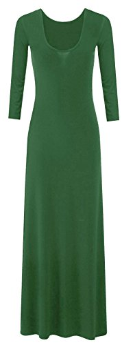 neuen Frauen plus size Trikot Langarm Maxi-Kleid Schaufel Hals strecken maxi (36/38, Jade Green) (Maxi-kleid Plus)
