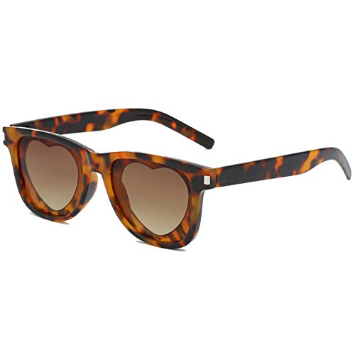 Taiyangcheng Gafas de sol Con Forma de corazón para Mujer en Forma de corazón Gafas de sol Con Forma de corazón de Steampunk Love Gafas lindas de Punk,te de Leopardo
