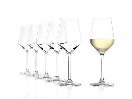 Stölzle Lausitz Weißweingläser Revolution, 365ml, 6er Set, hoch funktionelle Weißweinkelche, universell einsetzbare Weißweingläser, süplmaschinenfest