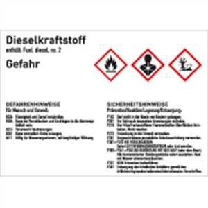 Gefahrstoffkennzeichnung Dieselkraftstoff gemäß GHS 10,5 x 14,8cm Folie mit mattem Laminat Abmessung des Kennzeichnungsschildes für Gebindegröße 50 - 500 Liter