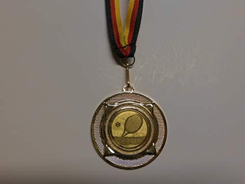 Fanshop Lünen 10 x Medaillen aus Metall 50mm - mit Einem Emblem, Tennis - Tennissport - inkl. Medaillen-Band - Farbe: Gold - mit Alu Emblem 25mm - (e277) -