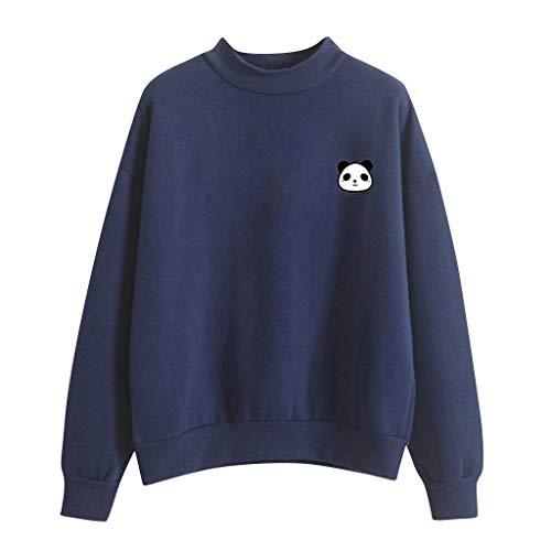 Cute Kostüm Baby Panda - kolila Damen Langarmshirts Tops Sweatshirts Pullover Lose Beiläufige Cute Panda Print Einfarbig Rundhalsausschnitt Warm Plus Samt