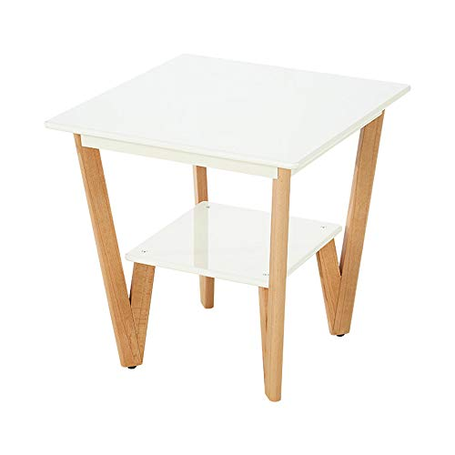 Axdwfd Table carrée en bois massif 2 couches de canapé Table d'appoint Chambre Salon Table basse (blanc)