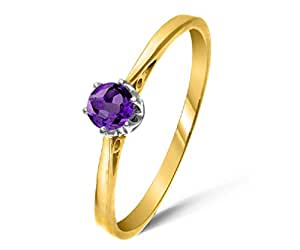 Fancy 9 ct Gold Ladies Solitaire Engagement Ring with Amethyst 0.20 Carat Size J