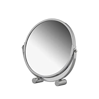 axentia Free Standing Swivel Magnifying Mirror, Portable Chromed Metal Cosmetic Vanity Mirror with up to 3x Magnification, Round Double-sided Make Up Mirror, Table Rotating Bathroom Shaving Mirror, Diameter approx. 17 cm, Silver
