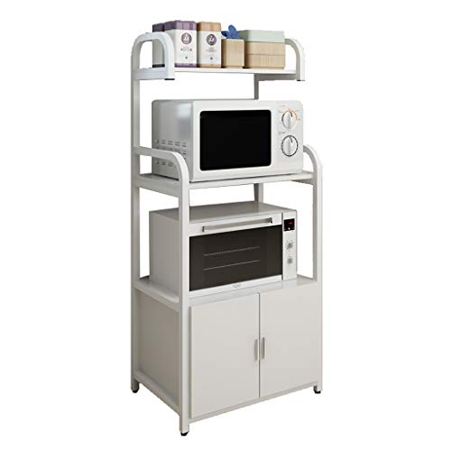 DOOST 4-lagiges vertikales Gewürzregal, integriertes Mikrowellenregal, Aufbewahrungsbox für die Küche, Massivholz-Spanplatte und dick lackierte Stahlrahmenkombination -