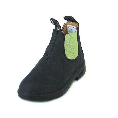 Blundstone Unisex-Kinder Classic 1412 Chelsea Boots, Schwarz Black/Lime Elastic, 24 EU