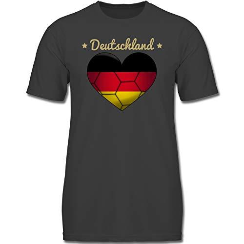 Handball WM 2019 Kinder - Handballherz Deutschland - 164 (14-15 Jahre) - Anthrazit - F130K - Jungen Kinder T-Shirt