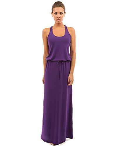 PattyBoutik Femme La maxi robe Racerback à col rond avec cordon sans manches violet foncé