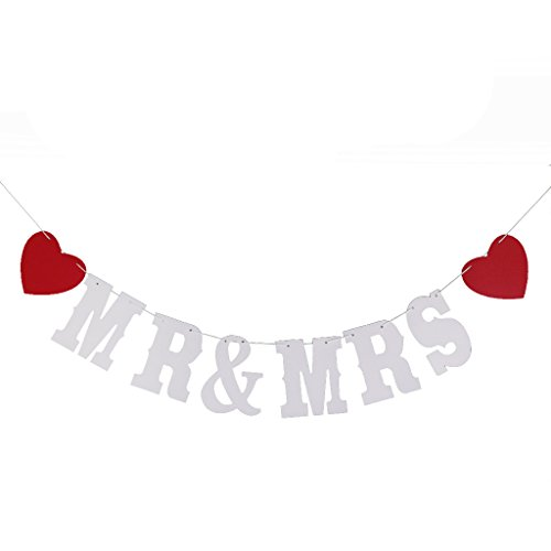 Red wedding decorations amazon mr mrs sign wedding bunting banner party decoration photo prop 24m white junglespirit Gallery