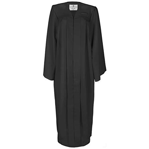 Lierys Toga Negro Hombre/Mujer Toga en la Talla L = hasta 1,85 m | con Cierre a presión | Túnica para la graduación Escolar o universitaria Junto con el Birrete
