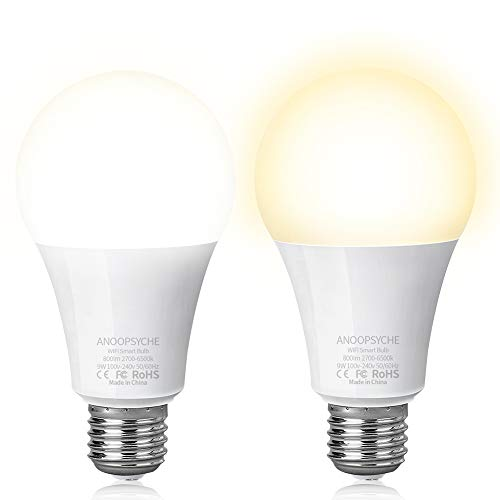 E27 Ecological WiFi LED Light Bulb 9 W White Compatible with Alexa Google Home IFTTT Remote Control by Smartphone [Energy Class A+] Pack of 2
